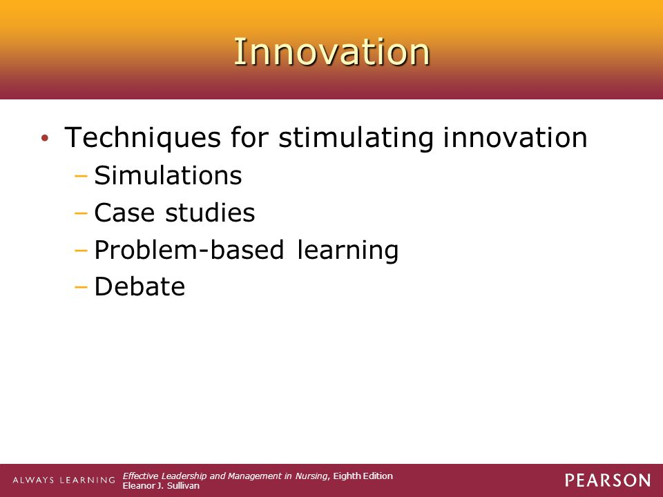 Innovation Techniques for stimulating innovation Simulations