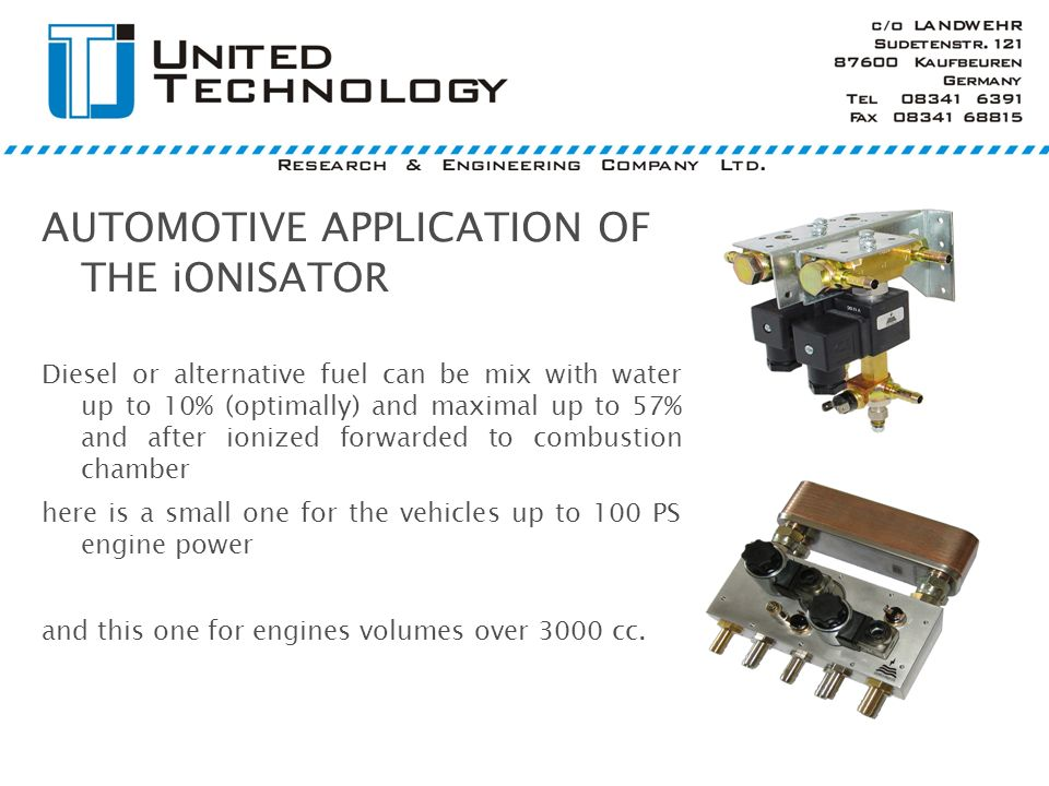 AUTOMOTIVE APPLICATION OF THE iONISATOR