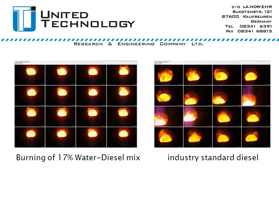 Burning of 17% Water-Diesel mix industry standard diesel