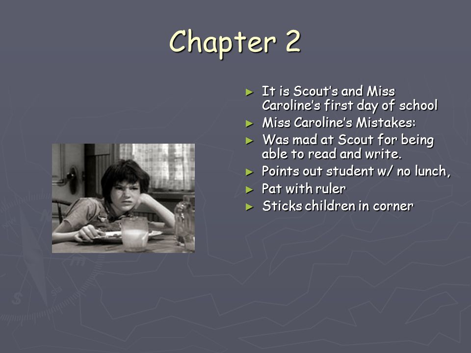 miss carolines first day essay To kill a mockingbird diary entry's  today is my first day of school  i had been in a bad mood because i hadaccidentally ruined miss meriwethers play.