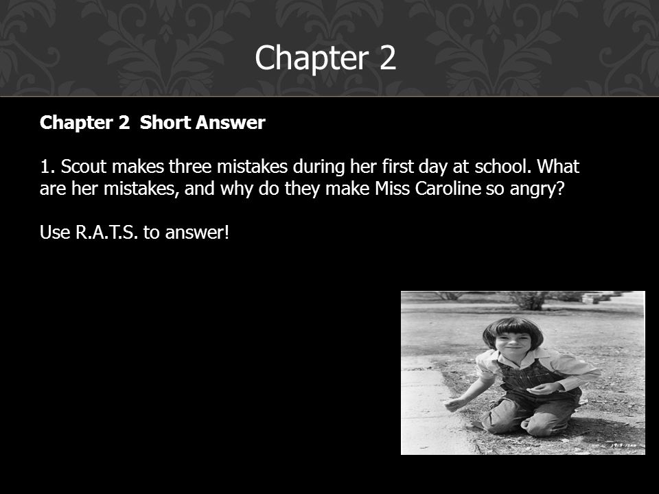 miss carolines first day to kill Get free homework help on harper lee's to kill a mockingbird: book summary, chapter summary and scout's first day at school is not at all the glorious experience she'd been expecting from the winters miss caroline's harsh reaction to the fact that scout already knows how to read and.