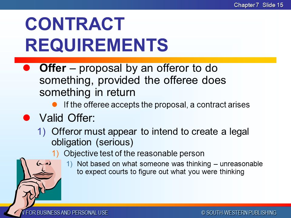 Contract Requirements Requirements Of A Contract Offer And