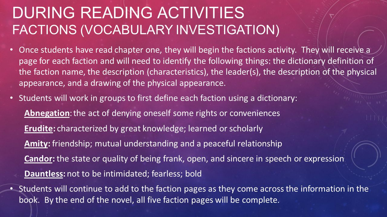 During Reading Activities Factions (vocabulary Investigation)