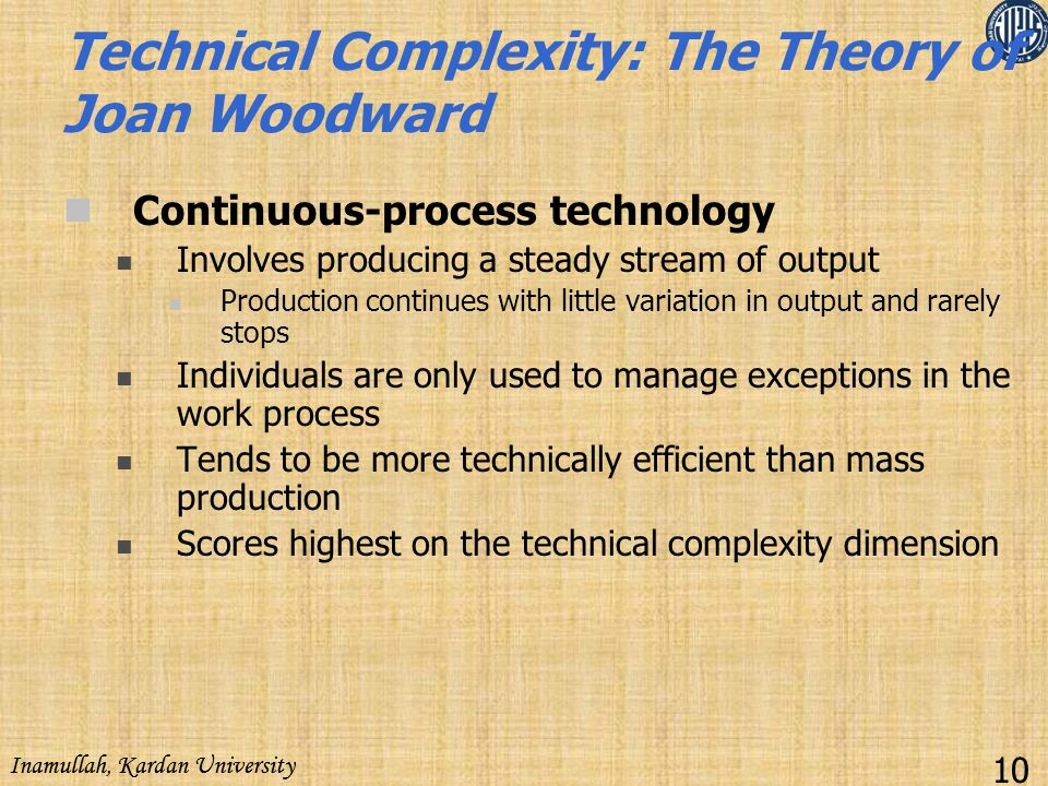 Technical Complexity: The Theory of Joan Woodward