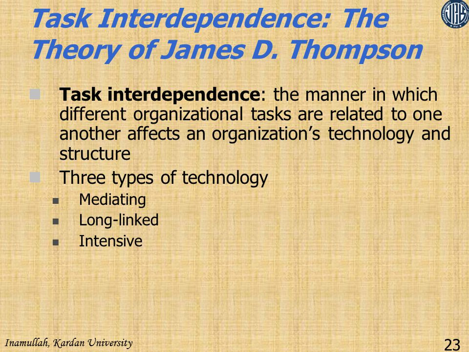 Task Interdependence: The Theory of James D. Thompson