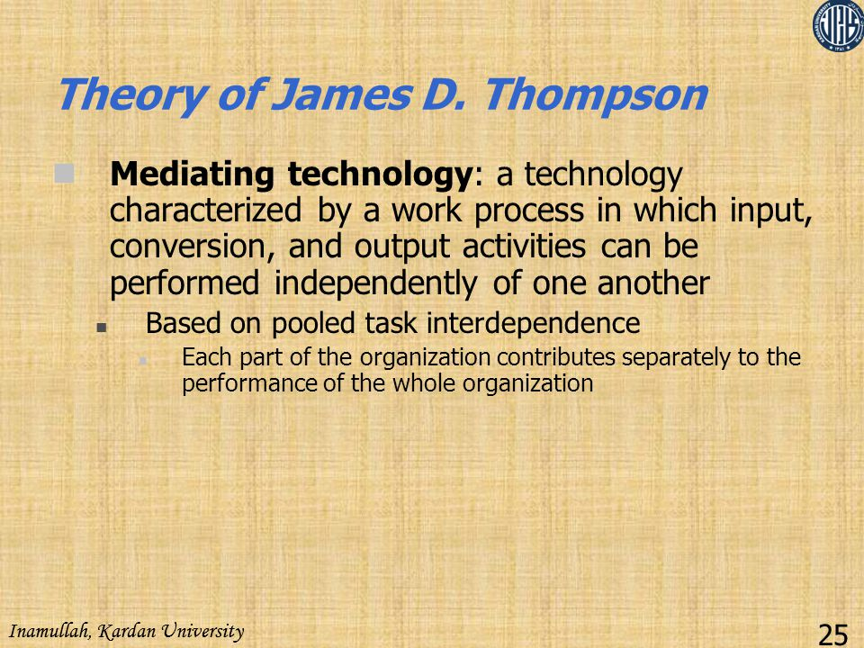 Theory of James D. Thompson