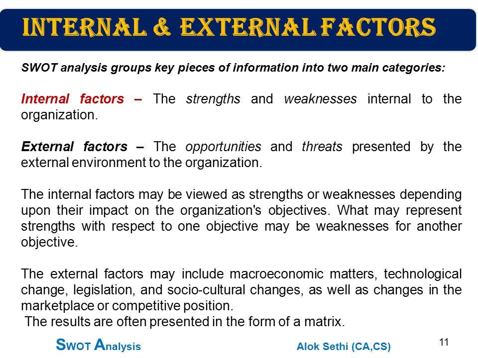 swot analysis and internal factors Strengths and weaknesses analysis focuses on all aspects of internal operations,  for example, people,  these various factors can be laid out in a swot chart.