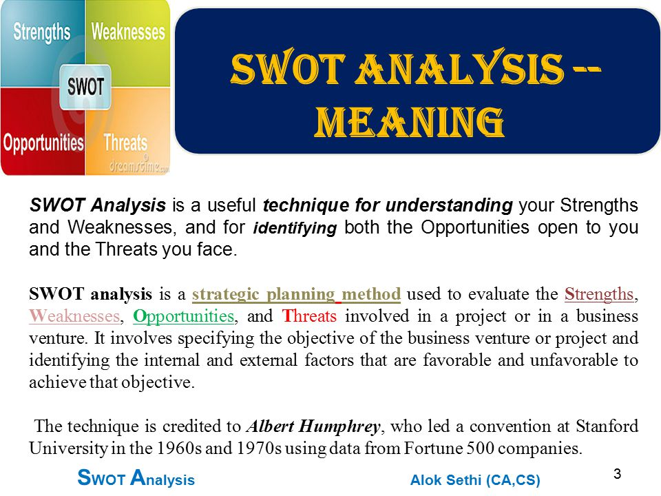 analyzing your businesss strengths, weaknesses, opportunities, and threats essay A swot analysis of a sample business plan angela acton foundations of   and an analysis of their strengths, weaknesses, opportunities, and threats (swot .