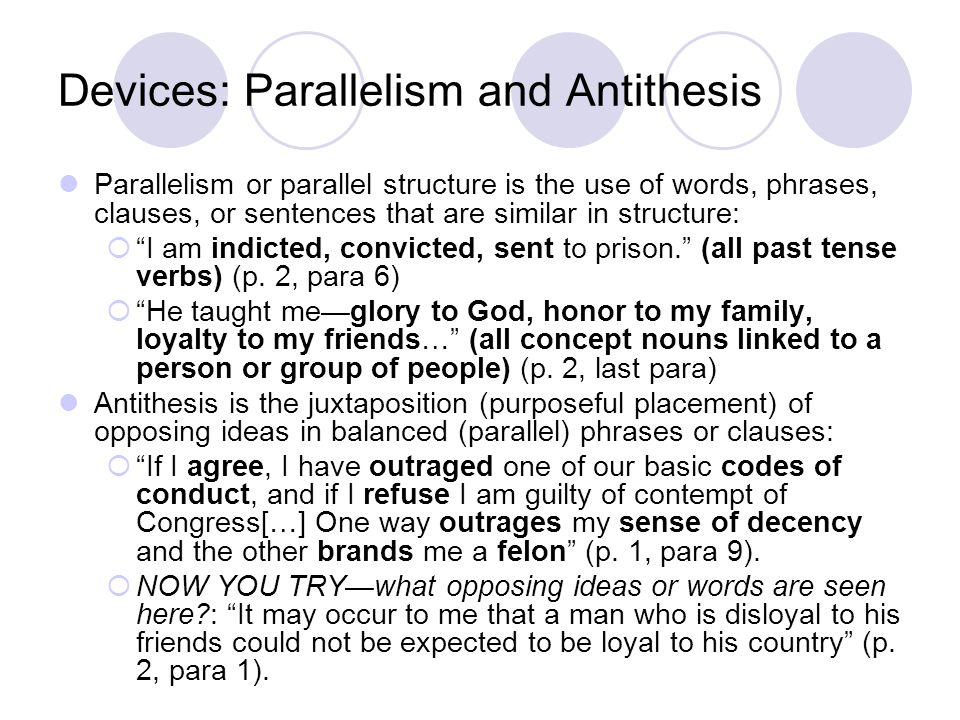 parallelism antithesis sentence Most of the words in each sentence are exactly the same as those in the other sentence this close parallel structure makes the antithesis all the more striking.