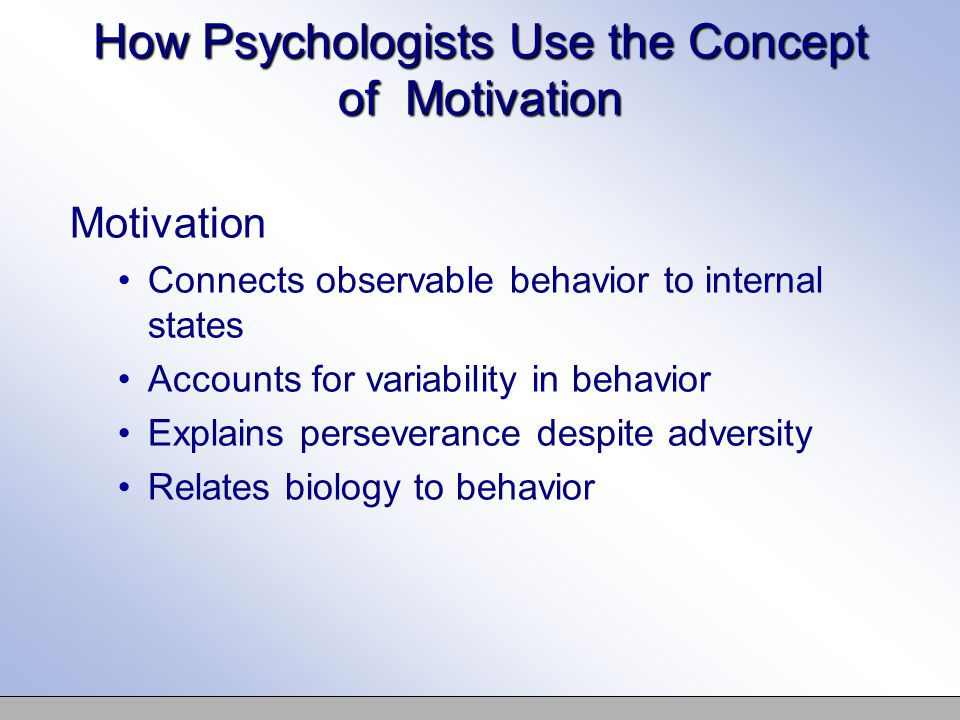 the concept of motivation Three types of motivational theory can be seen in different organization the theories are: maslow's hierarchy theory, herzberg's theory and vroom's theory.