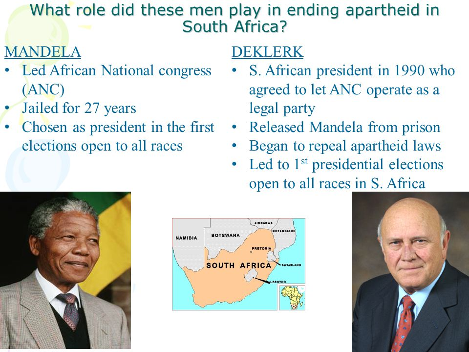What role did these men play in ending apartheid in South Africa