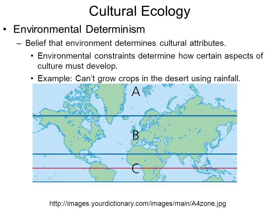 environmental determinism Environmental determinism is a theory put forth in the 19th century, that proposes that the geographical and physical attributes of an environment shape the development of the indigenous.