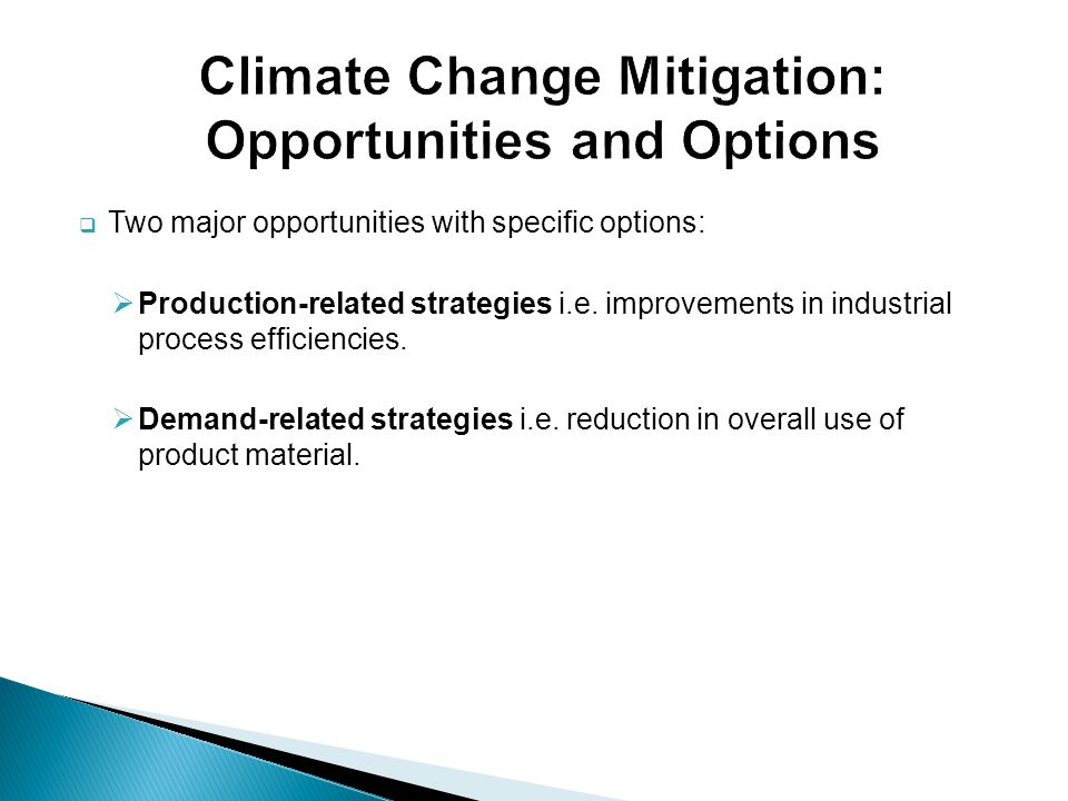 Climate Change Mitigation: Opportunities and Options