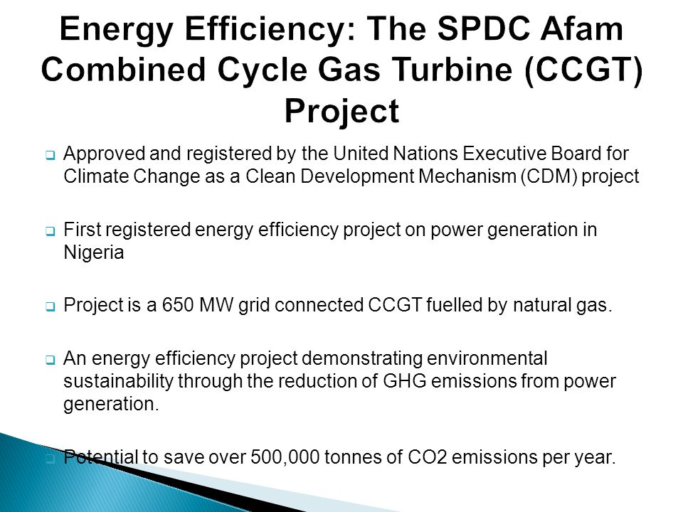 Energy Efficiency: The SPDC Afam Combined Cycle Gas Turbine (CCGT) Project