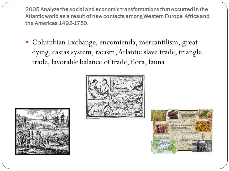 atlantic world 1492 1750 social and economic changes and continuities From the 2005 world history ap examination (courtesy of college entrance   analyze the social and economic transformations that occurred in the atlantic  world as a  among western europe, africa, and the americas from 1492 to 1750.