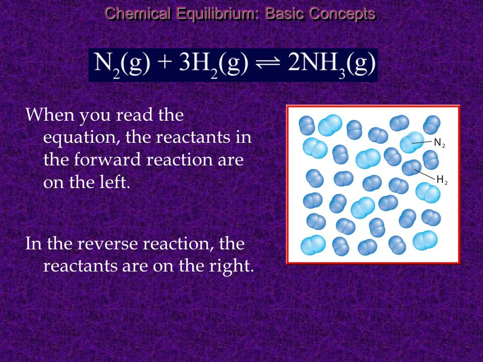 In the reverse reaction, the reactants are on the right.