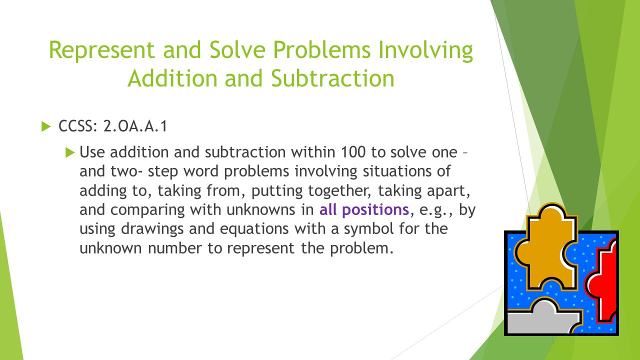 solving word problem involving addition in There are different sets of addition word problems that signal you are solving a division word problem problems using division and involving.
