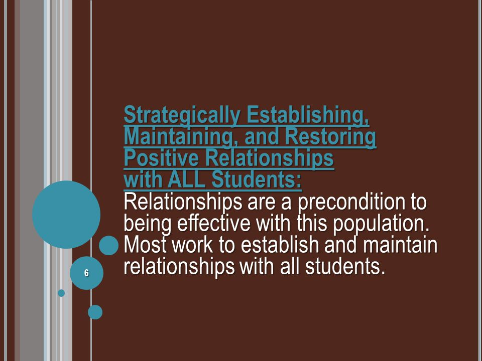 establish positive relationships with children and The development of positive, caring relationships is important for all students and  is  sample strategies for developing positive teacher-student relationships  by  brent g richardson and margery j shupe, teaching exceptional children,.