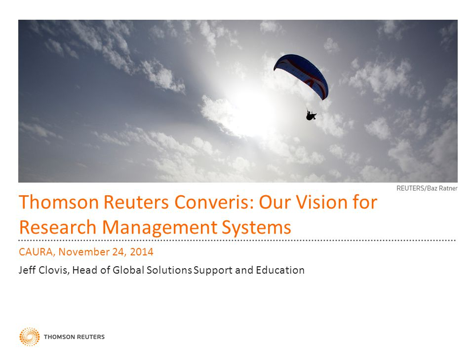 Thomson Reuters Converis: Our Vision for Research Management Systems