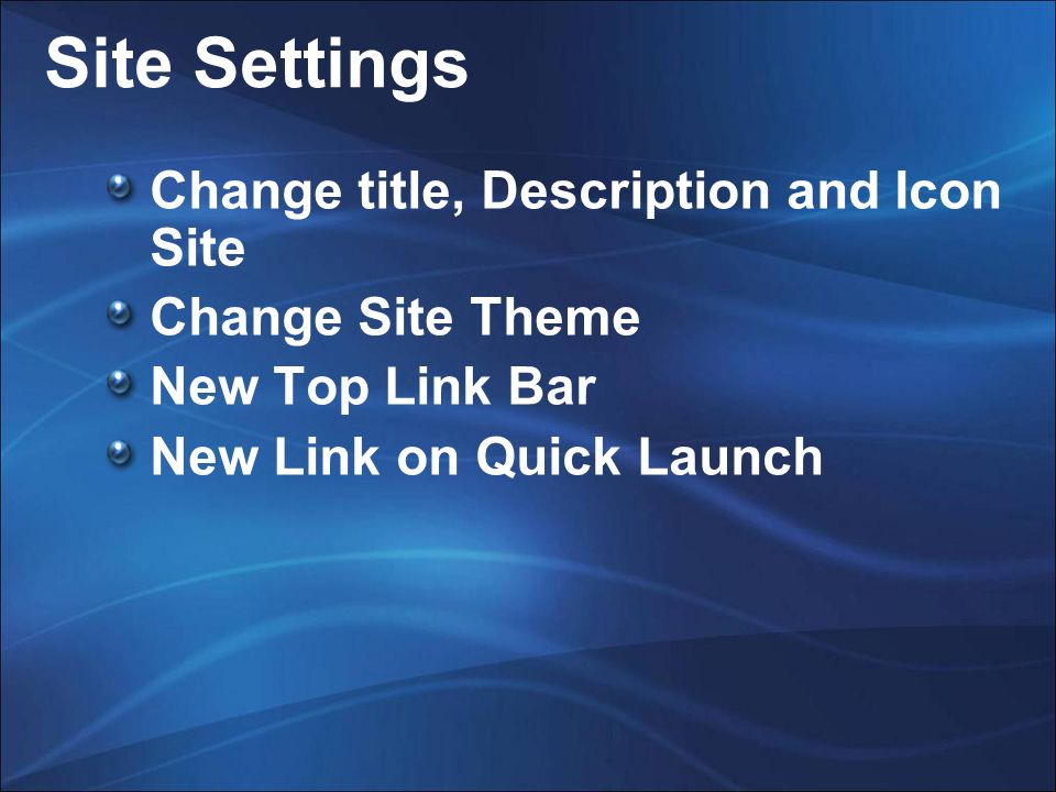 Site Settings Change title, Description and Icon Site