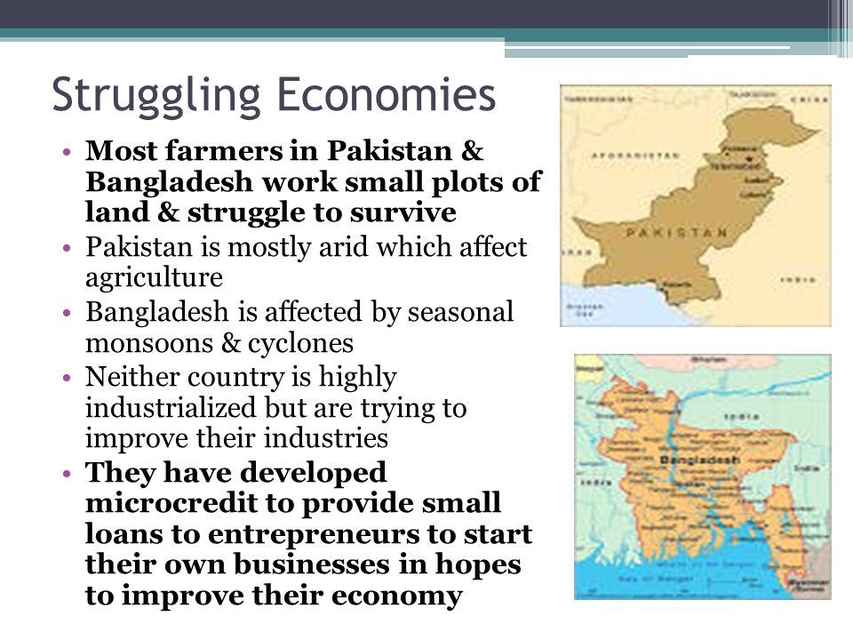 Struggling Economies Most farmers in Pakistan & Bangladesh work small plots of land & struggle to survive.