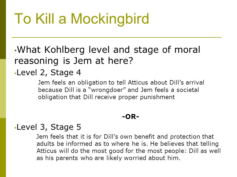 Moral development jem and scout kill mockingbird