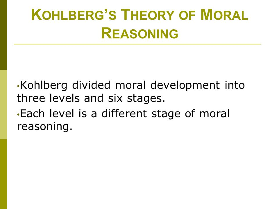 kohlbergs theory of moral development Lawrence kohlberg and the six levels of moral judgment this video will give you some good visual images to clarify the various stages or levels in kohlberg's theory.