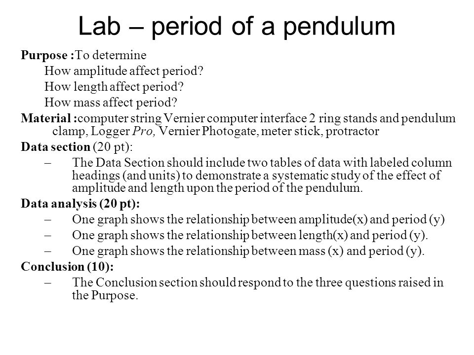 an analysis of the factors that affect the period of a pendulum Physics waves and pendulums study  what makes the period of the pendulum change  what factors affect a pendulums period.
