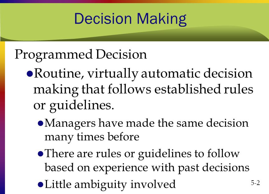 Programmed and Non-Programmed Decisions |Difference