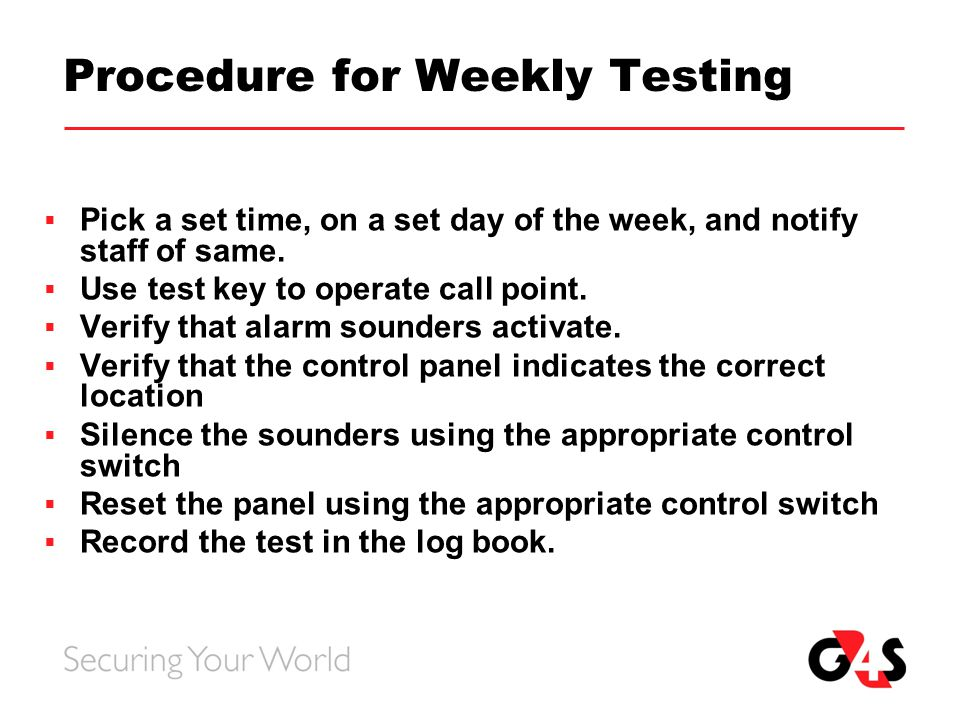 Procedure For Weekly Testing on Fire Alarm Circuit