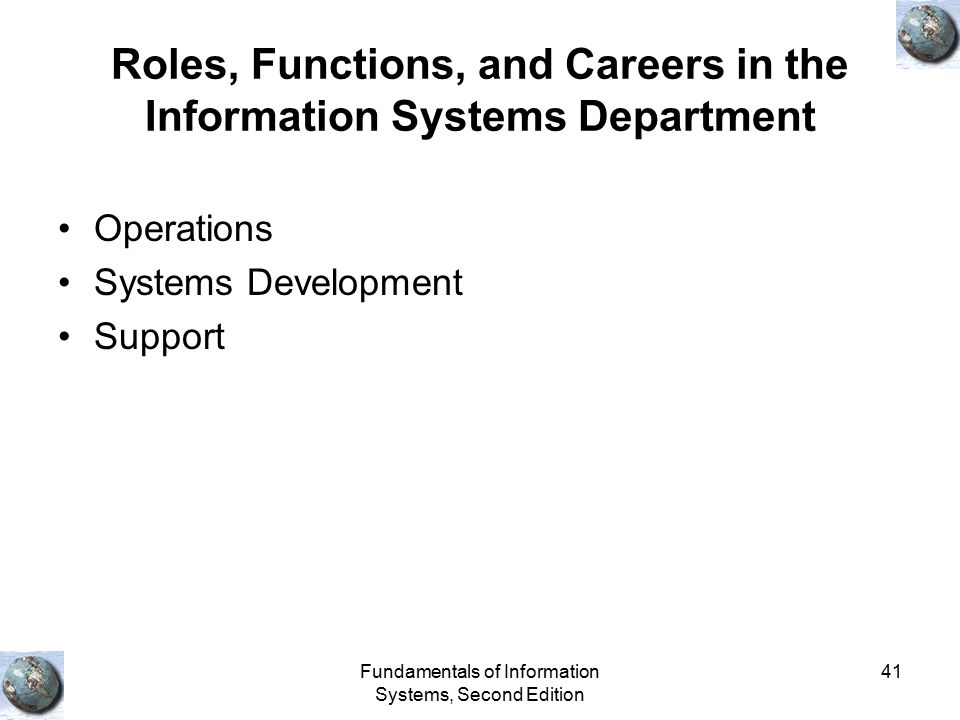 Roles, Functions, and Careers in the Information Systems Department