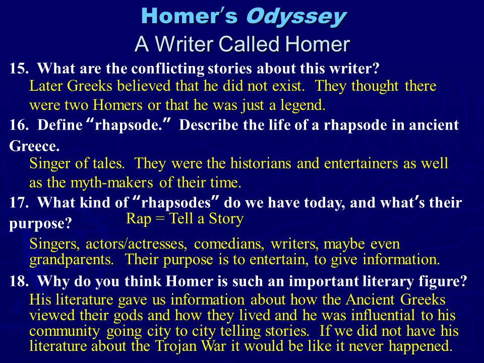the importance of time in homers the odyssey Time periods mythology the 'analysts' and the ancient greek people and the 'unitarians' are on homer's side these poems were an important part of odyssey.