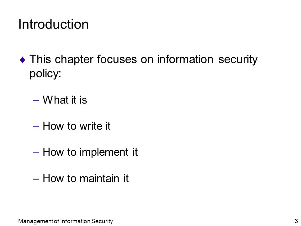 Intro information security policy