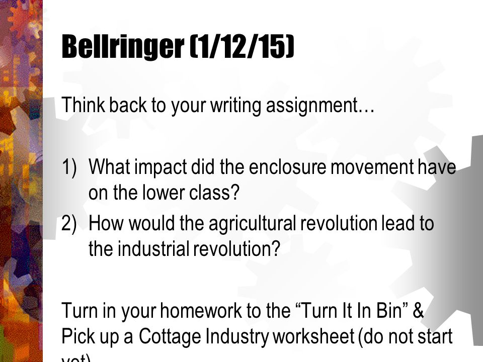 bellringer define the following terms in your own words bellringer 1 12 15 think back to your writing assignment