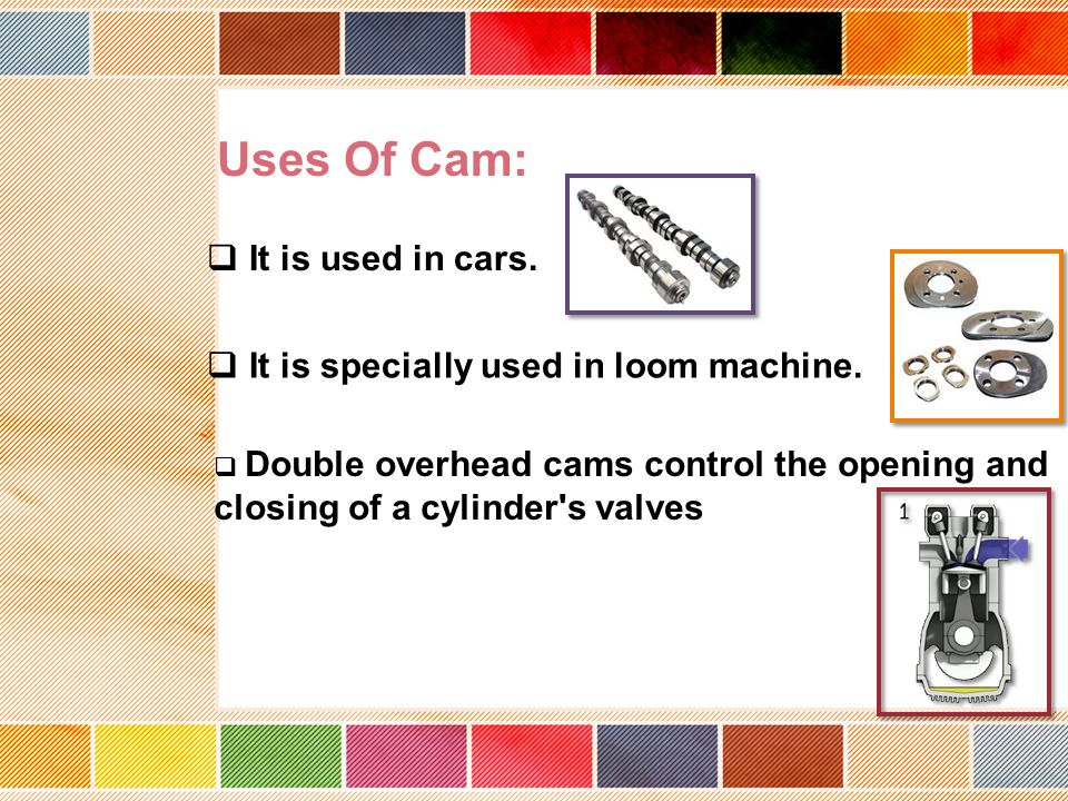 Uses Of Cam: It is used in cars. It is specially used in loom machine.