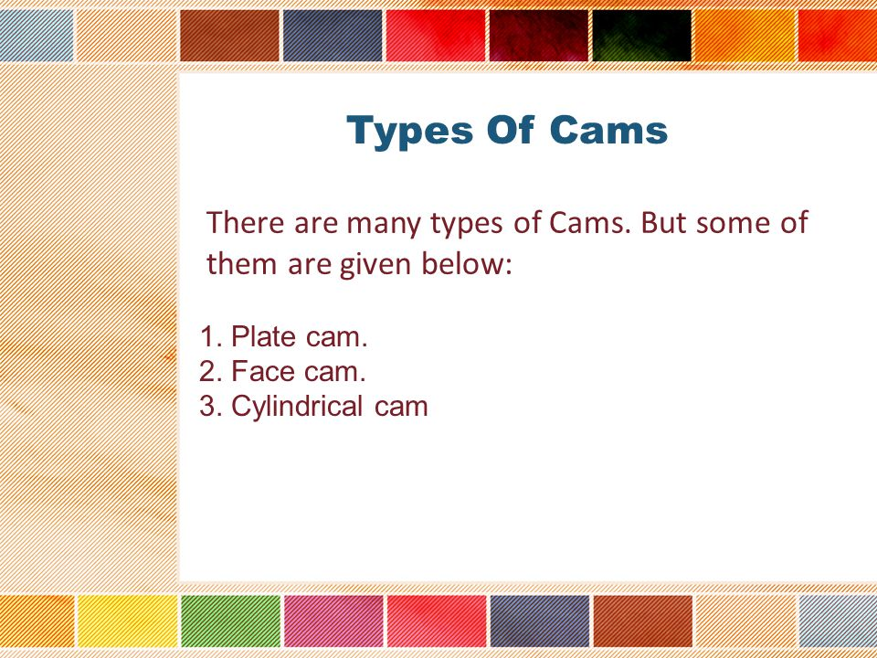 Types Of Cams There are many types of Cams. But some of them are given below: 1.