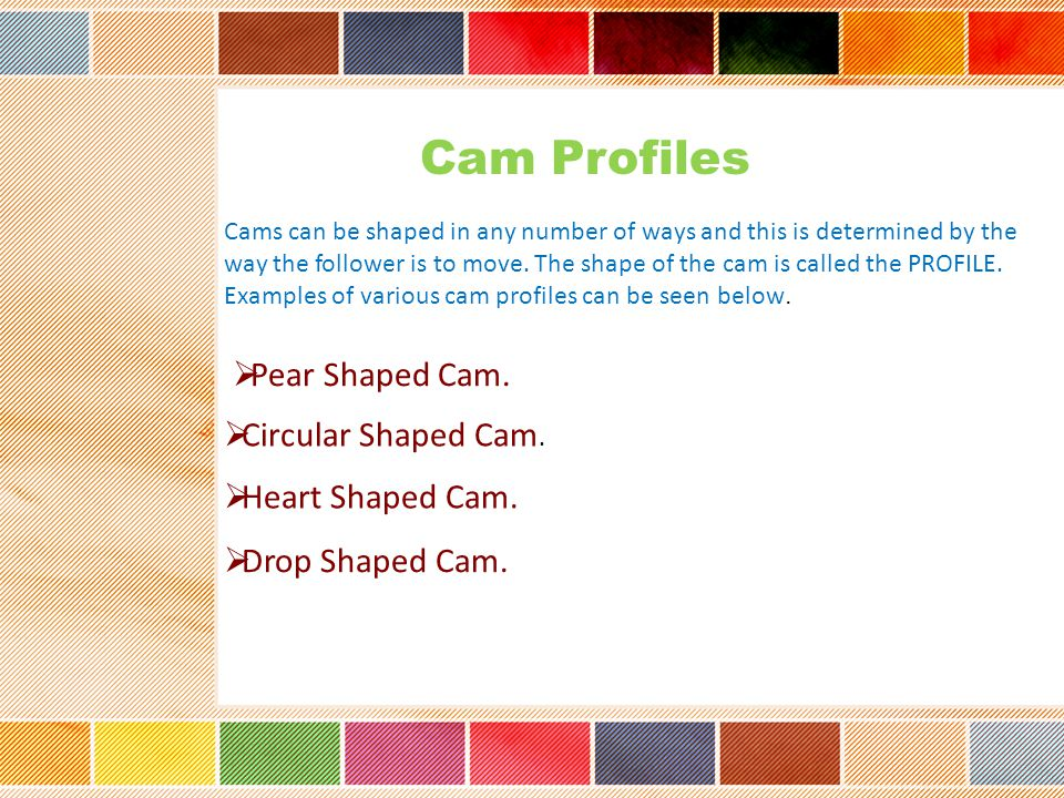Cam Profiles Pear Shaped Cam. Circular Shaped Cam. Heart Shaped Cam.