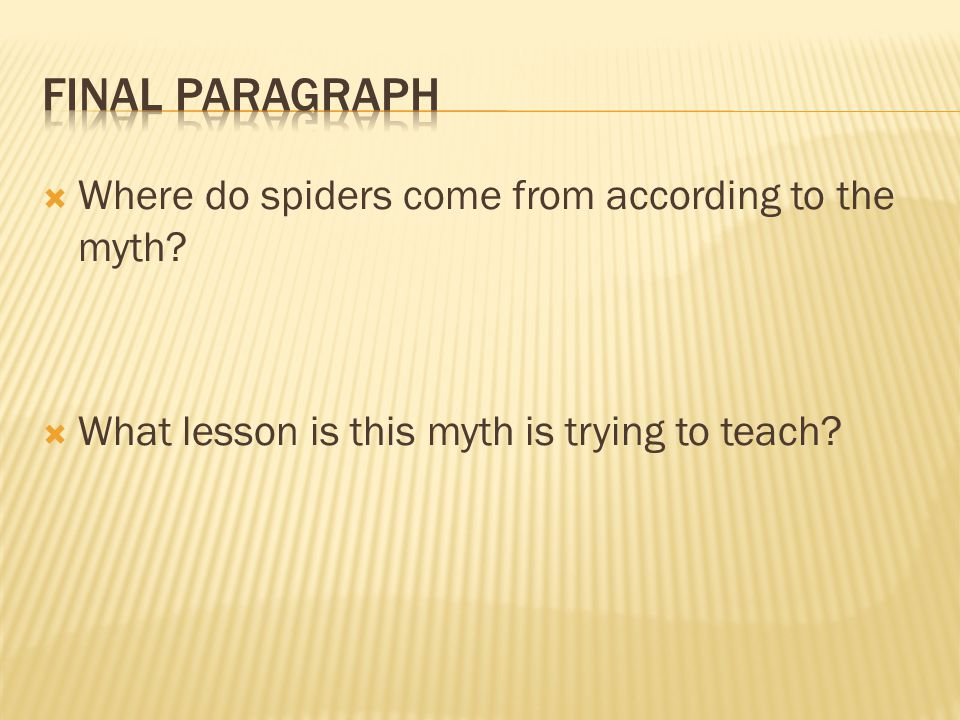 Final Paragraph Where do spiders come from according to the myth