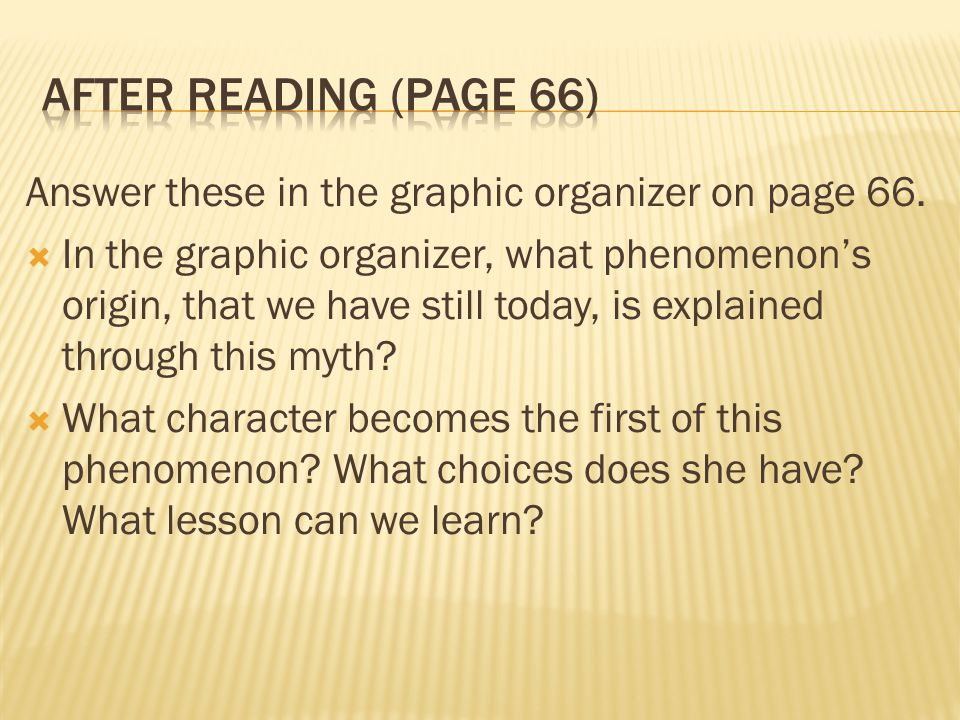 After Reading (page 66) Answer these in the graphic organizer on page 66.