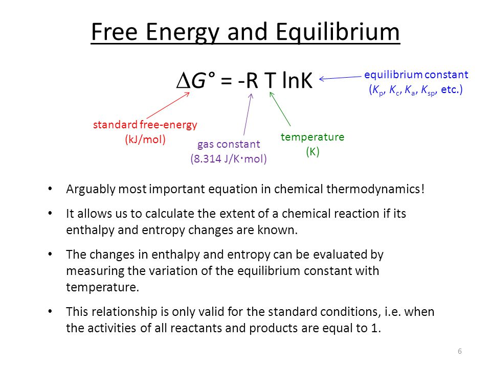 explain the relationship between free energy and chemical equilibria