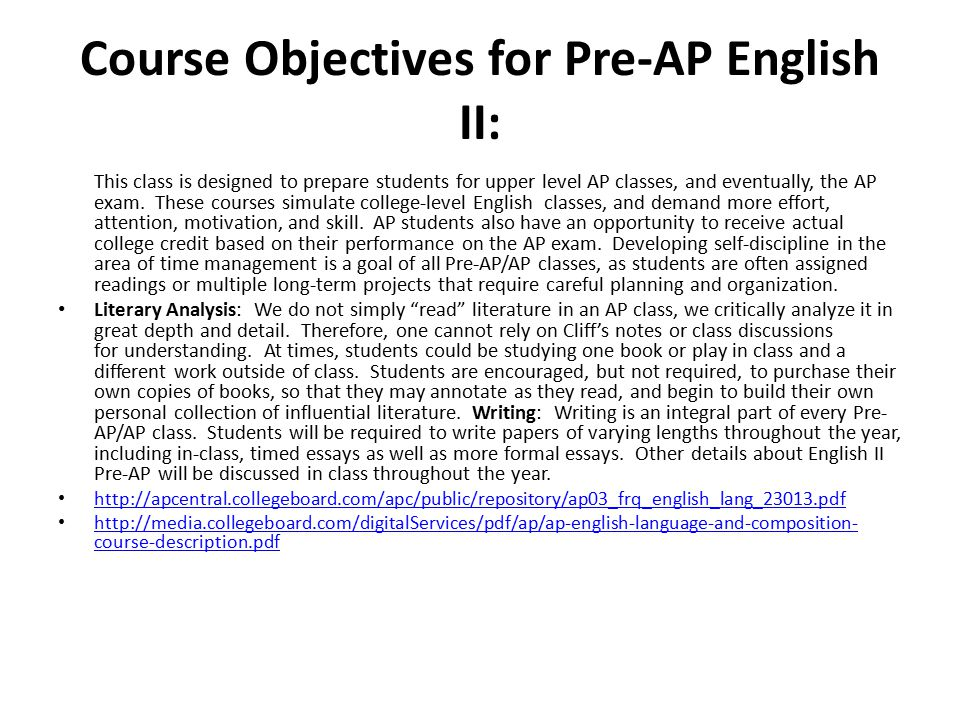 pre ap english essay questions Interest in, and school commitment to, so-called pre-ap programs, students  begin gearing up for ap exams  choice questions in english are particularly  prob.