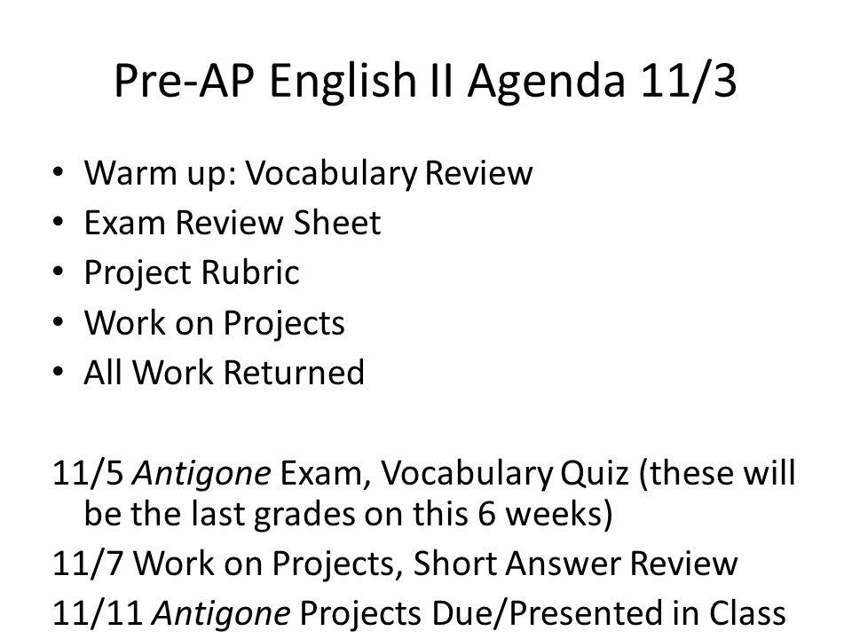 PreAP English II Agenda 826 ppt download – Antigone Worksheet Answers
