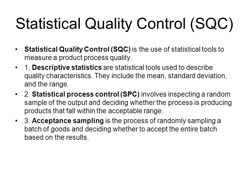Statistical Quality & Process Control
