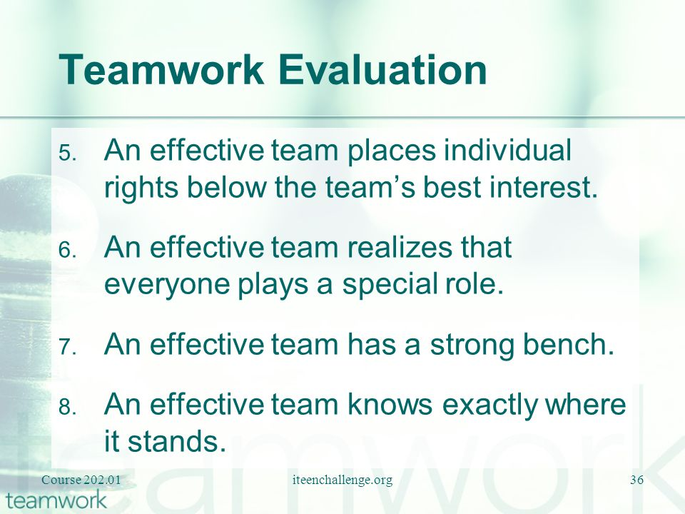 Teamwork Evaluation An effective team places individual rights below the team's best interest.