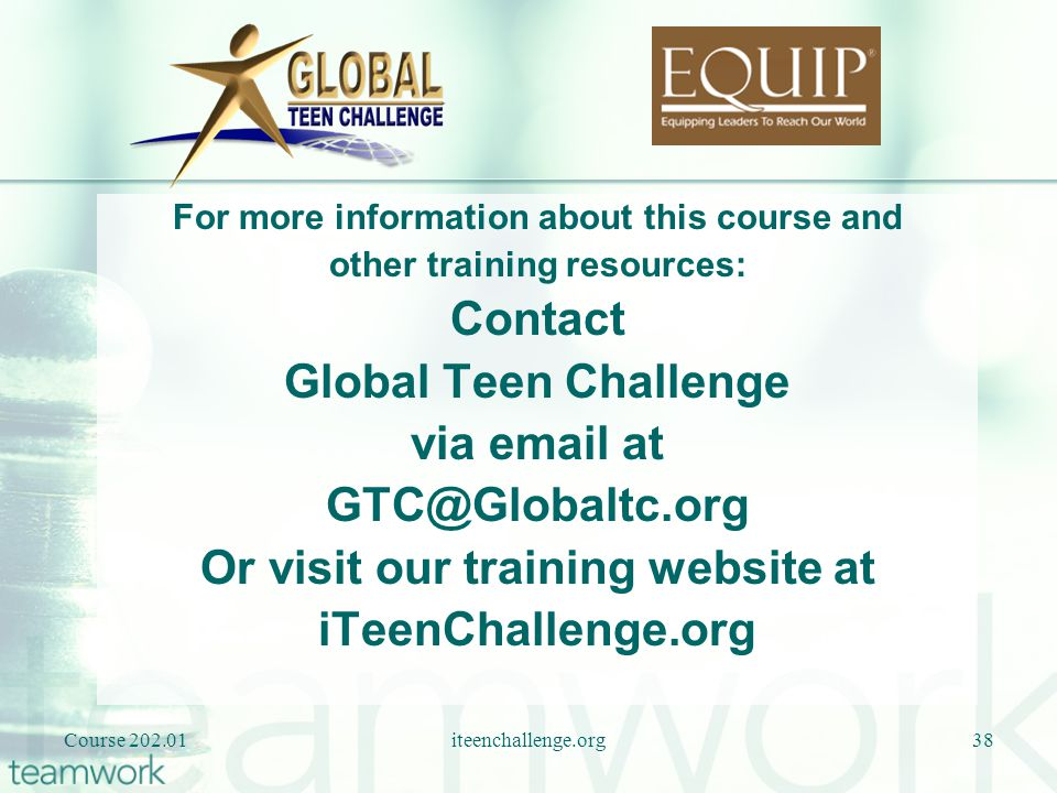 Or visit our training website at iTeenChallenge.org