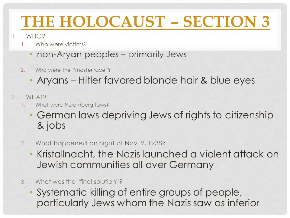 11 The Holocaust Section 3