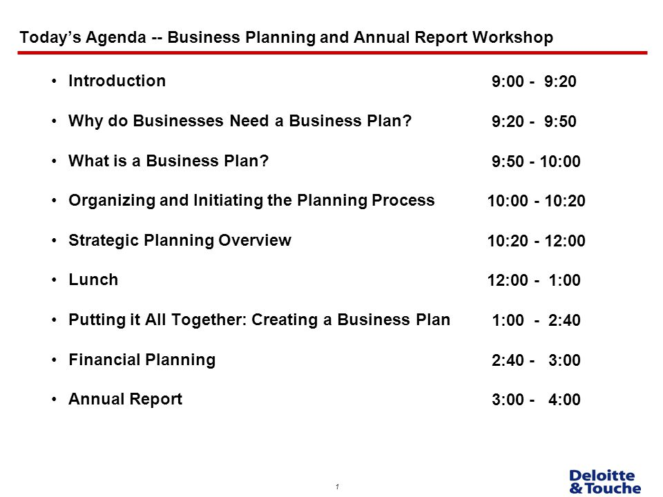 Today'S Agenda -- Business Planning And Annual Report Workshop