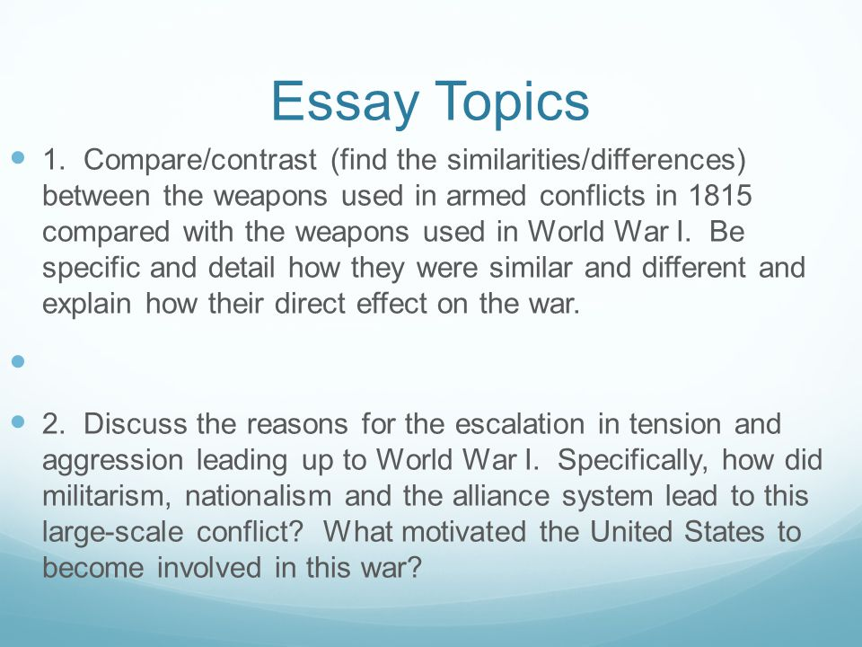 compare and contrast essay world war 1 and 2