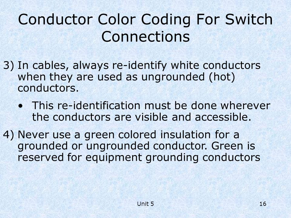 Conductor Color Coding For Switch Connections