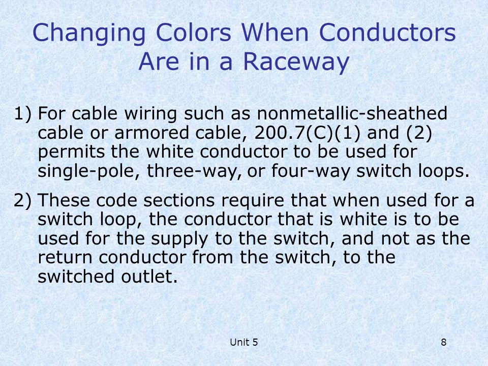 Changing Colors When Conductors Are in a Raceway